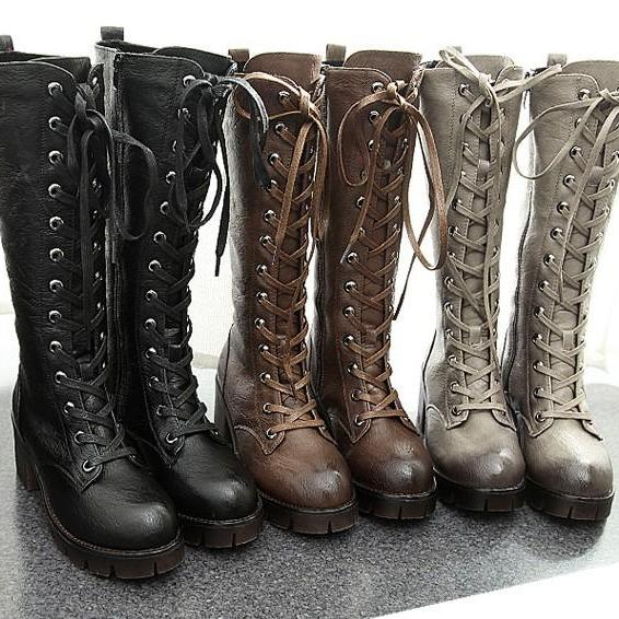 Free Shipping 3 Colors Punk Simple High-Heel Boots