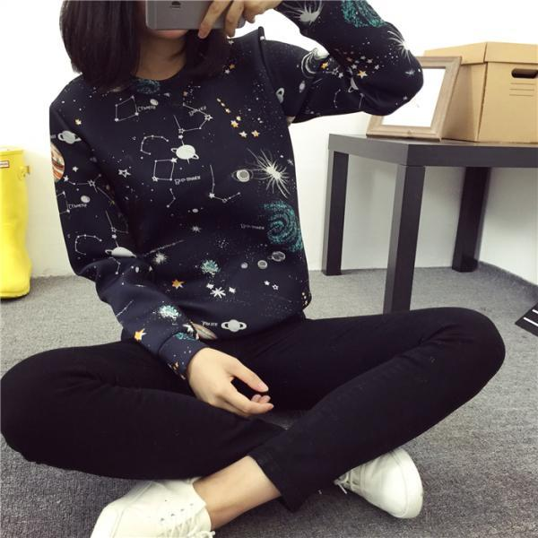 2015 Harajuku universe galaxy space winter cotton sweater for women
