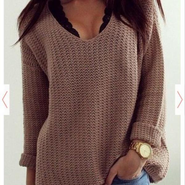 Hot sale women winter Coffee Plain Hollow-out V-neck Long Sleeve Loose Vintage Casual Pullover Sweater