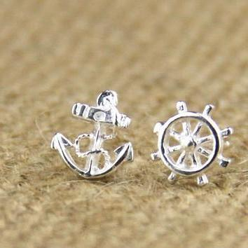 2015 hot sale Sterling Silver Anchor Earring Stud