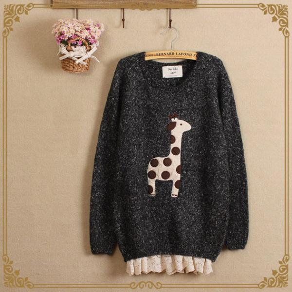 Japanese Mori girl clean giraffe stickers Brulee silk loose long sleeve sweater