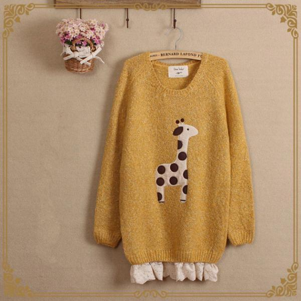 Cute giraffe stickers Brulee silk loose long sleeve sweater