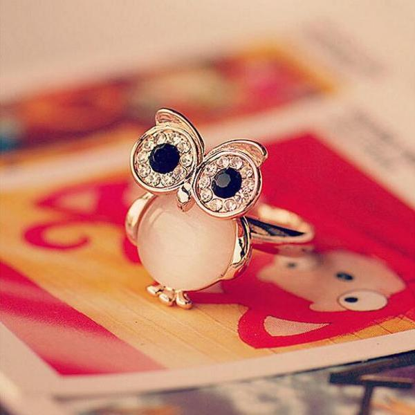 2015 Fashion Cute lovely Owl Opal Opening Animal Ring for girl