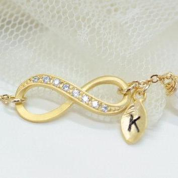 Gold Infinity Bracelet Initial Bracelet With Swarovski Pearl Bridesmaid Gift Friendship Jewelry Elegant Bracelet Personalized