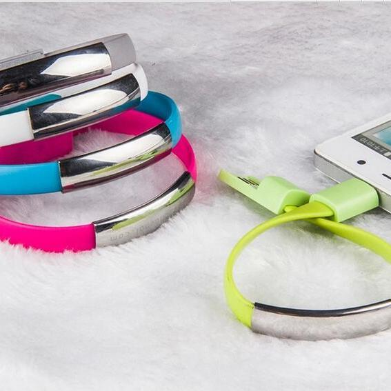 Bracelet style iphone and Android cell phone USB charging and data cables