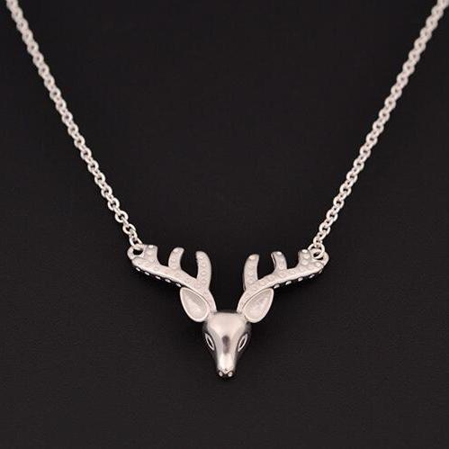 Women 925 sterling silver deer deer head necklace