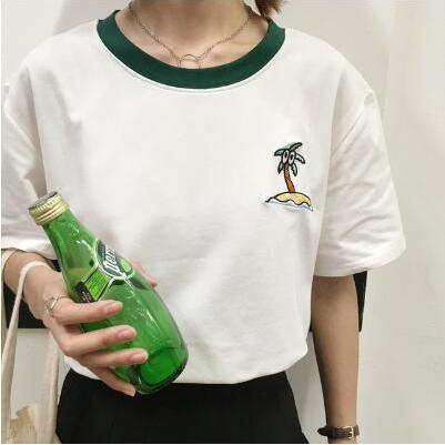 summer harajuku style embroidered coconut tree and letters printed women tops t-shirt