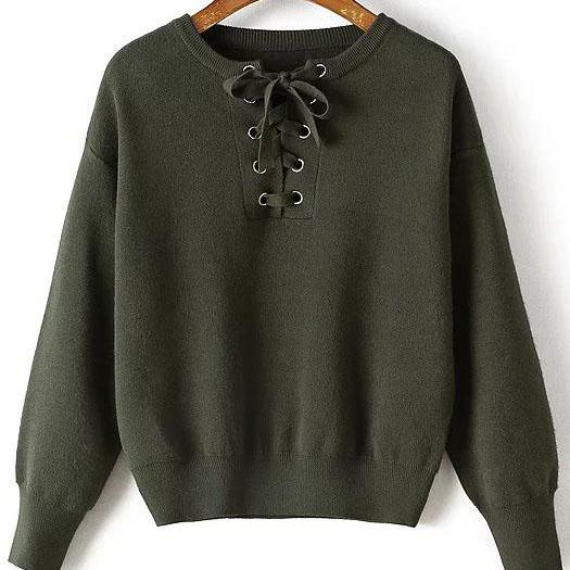 Army Green Lace-up Front S..