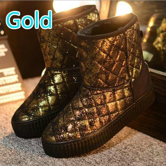 metal color snow boots