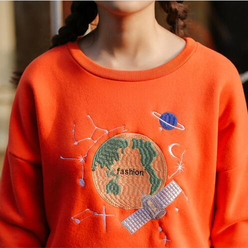 Orange Planet in Space Embroidered Pullover Sweater