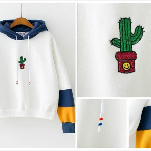 Free shipping harajuku Embroidery cactus hooded sweater #YYL22