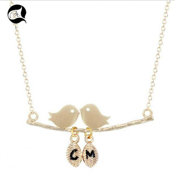 925 pure sliver bird animal leaves with letters style necklace